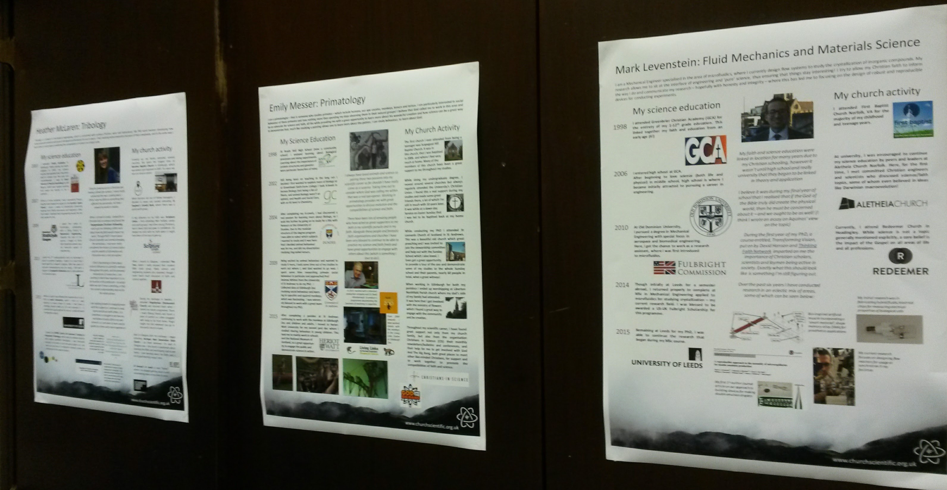 POSTERS: careers of Christian scientists
